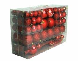 Geschenkestadl 101 teilig Weihnachtskugel Herz Kugel mit Schneeflocke Christbaumspitze mit 100 Metallhaken Anhänger Baumschmuck Weihnachten (Rot) - 1