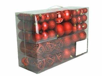 Geschenkestadl 101 teilig Weihnachtskugel Herz Kugel mit Schneeflocke Christbaumspitze mit 100 Metallhaken Anhänger Baumschmuck Weihnachten (Rot) - 5