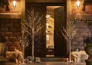 Hairui Vorbeleuchtete Birke 240CM 240L für die Heimdekoration Weißer Weihnachtsbaum mit LED-Leuchten Warmweiß Beleuchteter Kunstbaum mit Teilweise Funkelnder Funktion Ausgang 24V Sicherheitsspannung - 2