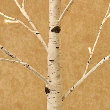 Hairui Vorbeleuchtete Birke 240CM 240L für die Heimdekoration Weißer Weihnachtsbaum mit LED-Leuchten Warmweiß Beleuchteter Kunstbaum mit Teilweise Funkelnder Funktion Ausgang 24V Sicherheitsspannung - 4