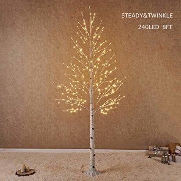 Hairui Vorbeleuchtete Birke 240CM 240L für die Heimdekoration Weißer Weihnachtsbaum mit LED-Leuchten Warmweiß Beleuchteter Kunstbaum mit Teilweise Funkelnder Funktion Ausgang 24V Sicherheitsspannung - 1