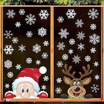 heekpek Fensterdeko Weihnachten Fensterbilder Winter Statisch Haftende PVC Aufklebe Weihnachtsmann Süße Elche Wiederverwendbar Schneeflocken Fenster - 3