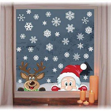 heekpek Fensterdeko Weihnachten Fensterbilder Winter Statisch Haftende PVC Aufklebe Weihnachtsmann Süße Elche Wiederverwendbar Schneeflocken Fenster - 5