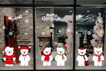 heekpek Netter Weihnachtsbär Fensterbild Weihnachten selbstklebend Fensterdeko Weihnachtsdeko Sterne Weihnachts Rentier Aufkleber Schneeflocken Aufkleber Winter Dekoration - 3