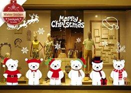 heekpek Netter Weihnachtsbär Fensterbild Weihnachten selbstklebend Fensterdeko Weihnachtsdeko Sterne Weihnachts Rentier Aufkleber Schneeflocken Aufkleber Winter Dekoration - 1