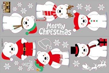 heekpek Netter Weihnachtsbär Fensterbild Weihnachten selbstklebend Fensterdeko Weihnachtsdeko Sterne Weihnachts Rentier Aufkleber Schneeflocken Aufkleber Winter Dekoration - 4