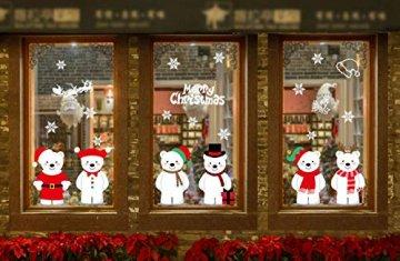 heekpek Netter Weihnachtsbär Fensterbild Weihnachten selbstklebend Fensterdeko Weihnachtsdeko Sterne Weihnachts Rentier Aufkleber Schneeflocken Aufkleber Winter Dekoration - 6