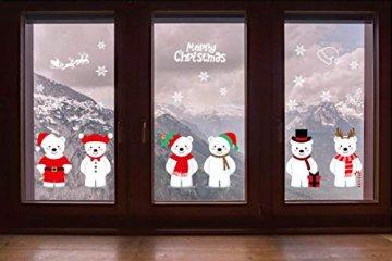 heekpek Netter Weihnachtsbär Fensterbild Weihnachten selbstklebend Fensterdeko Weihnachtsdeko Sterne Weihnachts Rentier Aufkleber Schneeflocken Aufkleber Winter Dekoration - 7