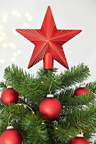 HEITMANN DECO Christbaumspitze Weihnachtsstern aus Kunststoff - Weihnachtsbaumspitze Weihnachtsdeko - Rot - 2