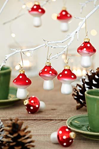 HEITMANN DECO Fliegenpilze aus Glas - Baumbehang Christbaumschmuck Weihnachtskugeln Weihnachtsdeko - 8-teilig Rot, Weiß - 2