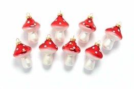 HEITMANN DECO Fliegenpilze aus Glas - Baumbehang Christbaumschmuck Weihnachtskugeln Weihnachtsdeko - 8-teilig Rot, Weiß - 1