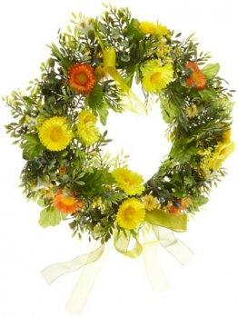 HEITMANN DECO Frühlings-Kranz - Türkranz mit Blumen, Dekoration für Frühling und Ostern - Kunststoff - 1