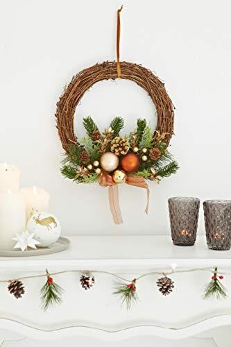 HEITMANN DECO Weihnachtskranz - Türkranz Wandkranz Weihnachten - dekorierter Kranz aus Tannenzweigen - Kupfer, Gold, Grün - 2