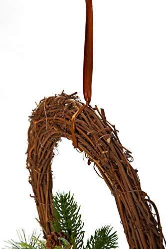HEITMANN DECO Weihnachtskranz - Türkranz Wandkranz Weihnachten - dekorierter Kranz aus Tannenzweigen - Kupfer, Gold, Grün - 3