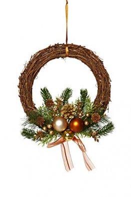 HEITMANN DECO Weihnachtskranz - Türkranz Wandkranz Weihnachten - dekorierter Kranz aus Tannenzweigen - Kupfer, Gold, Grün - 1