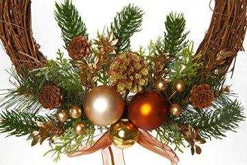 HEITMANN DECO Weihnachtskranz - Türkranz Wandkranz Weihnachten - dekorierter Kranz aus Tannenzweigen - Kupfer, Gold, Grün - 5