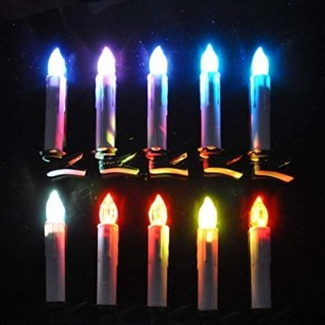 HENGMEI 40er Weihnachtskerzen Christbaumkerzen Christbaumbeleuchtung RGB Flammenlose mit Fernbedienung Weihnachtsbeleuchtung für Weihnachtsbaum, Hochzeit, Partys (40 Stücke) - 6