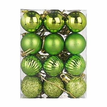 HOUMENGO 24 Weihnachtskugeln Baumschmuck, Christbaumkugeln aus Kunststof, Christbaumschmuck Weihnachten Anhänger Deko modisch Glänzend Bruchsiche Weihnachtskugeln (24 Stück, Grün) - 2