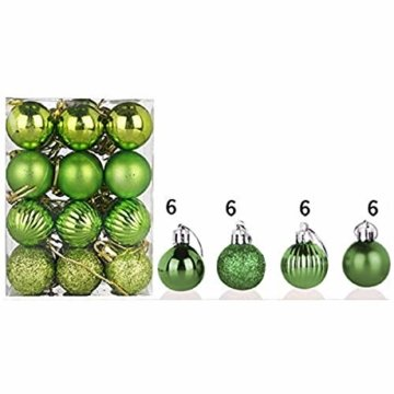 HOUMENGO 24 Weihnachtskugeln Baumschmuck, Christbaumkugeln aus Kunststof, Christbaumschmuck Weihnachten Anhänger Deko modisch Glänzend Bruchsiche Weihnachtskugeln (24 Stück, Grün) - 1