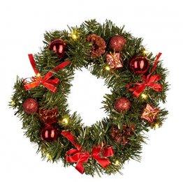 Idena 30138 - Weihnachtskranz mit 10 LED warm weiß, mit 6 Stunden Timer Funktion, Batterie betrieben, für Deko, Weihnachten, Advent, als Stimmungslicht, Türkranz, ca. 25 cm - 1