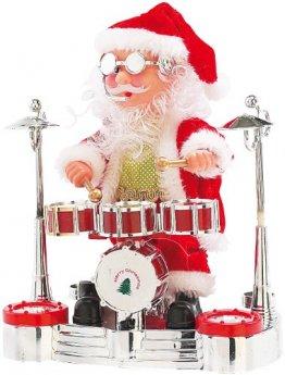 infactory Weihnachtsartikel: Singender Schlagzeuger-Weihnachtsmann mit LED-Lichtershow (Trommelnder Weihnachtsmann) - 1
