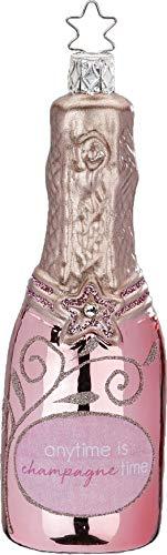 Inge-glas - Christbaumschmuck, Baumschmuck - Flasche Champagne Time - Rosa - Glas - mundgeblasen - Größe: 13 cm - 1