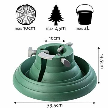 KADAX Weihnachtsbaumständer mit Wasserbehälter, Stabiler Christbaumständer aus robustem Kunststoff für Bäume, moderner Tannenbaumständer, Verschiedene Großen, grün (Baumhöhe bis 2,5m) - 1