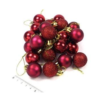 kleine Minni Dekokugeln Weihnachten Weihnachtskugeln Kugeln matt glänzend glitzernd 24 Stück 3,3cm weinrot rot dunkelrot Bordeaux - 2