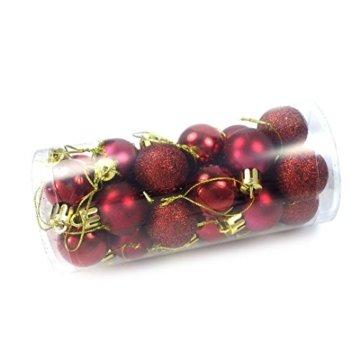 kleine Minni Dekokugeln Weihnachten Weihnachtskugeln Kugeln matt glänzend glitzernd 24 Stück 3,3cm weinrot rot dunkelrot Bordeaux - 4