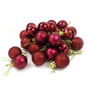 kleine Minni Dekokugeln Weihnachten Weihnachtskugeln Kugeln matt glänzend glitzernd 24 Stück 3,3cm weinrot rot dunkelrot Bordeaux - 1