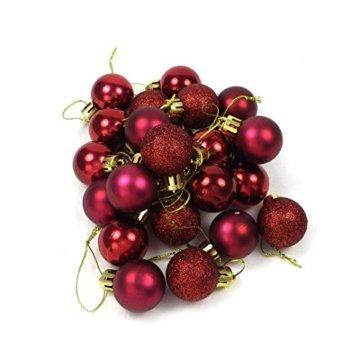 kleine Minni Dekokugeln Weihnachten Weihnachtskugeln Kugeln matt glänzend glitzernd 24 Stück 3,3cm weinrot rot dunkelrot Bordeaux - 5