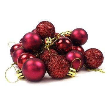 kleine Minni Dekokugeln Weihnachten Weihnachtskugeln Kugeln matt glänzend glitzernd 24 Stück 3,3cm weinrot rot dunkelrot Bordeaux - 6
