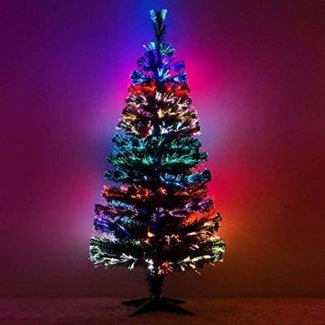 Künstlicher Glasfaser Weihnachtsbaum 120 cm mit LED Beleuchtung und echten vergoldete Zapfen Christbaum Tannenbaum - 3