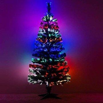 Künstlicher Glasfaser Weihnachtsbaum 120 cm mit LED Beleuchtung und echten vergoldete Zapfen Christbaum Tannenbaum - 4
