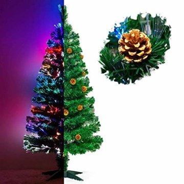 Künstlicher Glasfaser Weihnachtsbaum 120 cm mit LED Beleuchtung und echten vergoldete Zapfen Christbaum Tannenbaum - 1