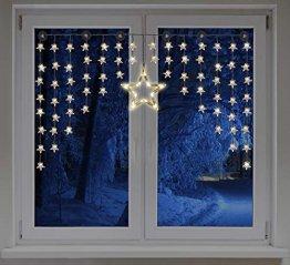 LED Sternenvorhang 140x95 cm - 90 LED warmweiß - Fenster Deko Stern Lichterkette Lichtervorhang - 1