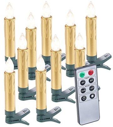 Lunartec Christbaumkerzen: 20er-Set LED-Weihnachtsbaumkerzen mit Fernbedienung und Timer, Gold (Kabellose Weihnachtskerzen) - 3