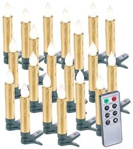 Lunartec Christbaumkerzen: 20er-Set LED-Weihnachtsbaumkerzen mit Fernbedienung und Timer, Gold (Kabellose Weihnachtskerzen) - 1