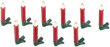 Lunartec Weihnachtskerzen: 20er-Set LED-Weihnachtsbaum-Kerzen mit IR-Fernbedienung, rot (Christbaumkerzen kabellos) - 4