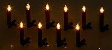Lunartec Weihnachtskerzen: 20er-Set LED-Weihnachtsbaum-Kerzen mit IR-Fernbedienung, rot (Christbaumkerzen kabellos) - 5