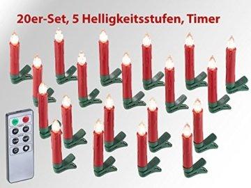 Lunartec Weihnachtskerzen: 20er-Set LED-Weihnachtsbaum-Kerzen mit IR-Fernbedienung, rot (Christbaumkerzen kabellos) - 6