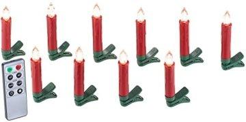 Lunartec Weihnachtskerzen: 20er-Set LED-Weihnachtsbaum-Kerzen mit IR-Fernbedienung, rot (Christbaumkerzen kabellos) - 8
