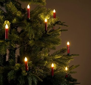Lunartec Weihnachtskerzen: 20er-Set LED-Weihnachtsbaum-Kerzen mit IR-Fernbedienung, rot (Christbaumkerzen kabellos) - 9