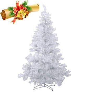 MCTECH 180cm PVC Festive Künstlicher Weihnachtsbaum Weiss Tannenbaum Weiß Christbaum Dekobaum mit Ständer (180cm) - 1