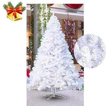 MCTECH 180cm PVC Festive Künstlicher Weihnachtsbaum Weiss Tannenbaum Weiß Christbaum Dekobaum mit Ständer (180cm) - 5