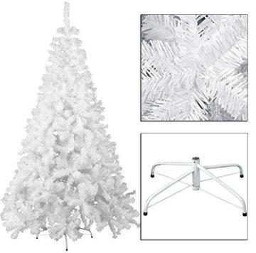 MCTECH 180cm PVC Festive Künstlicher Weihnachtsbaum Weiss Tannenbaum Weiß Christbaum Dekobaum mit Ständer (180cm) - 6