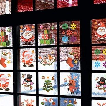MEJOSER 20pc(10Muster) Weihnachten Fensteraufkleber PVC Fenstersticker Weihnachten Fensterbilder Selbstklebend Weihnachtssticker Tür Aufkleber WandtatttooFensterdeko Weihnachtsdeko - 2