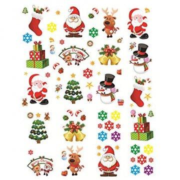 MEJOSER 20pc(10Muster) Weihnachten Fensteraufkleber PVC Fenstersticker Weihnachten Fensterbilder Selbstklebend Weihnachtssticker Tür Aufkleber WandtatttooFensterdeko Weihnachtsdeko - 1