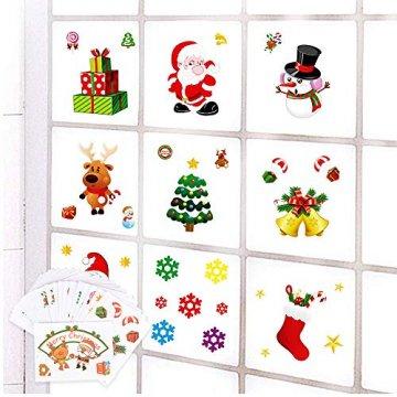 MEJOSER 20pc(10Muster) Weihnachten Fensteraufkleber PVC Fenstersticker Weihnachten Fensterbilder Selbstklebend Weihnachtssticker Tür Aufkleber WandtatttooFensterdeko Weihnachtsdeko - 6