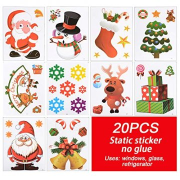 MEJOSER 20pc(10Muster) Weihnachten Fensteraufkleber PVC Fenstersticker Weihnachten Fensterbilder Selbstklebend Weihnachtssticker Tür Aufkleber WandtatttooFensterdeko Weihnachtsdeko - 7